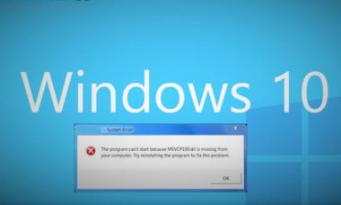 Ошибка MSVCR100 и MSVCP100 dll отсутствует в Windows 10.